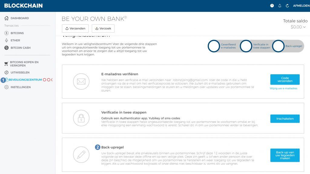 Bitcoin wallet, hoe maak ik een backup op blockchain.info