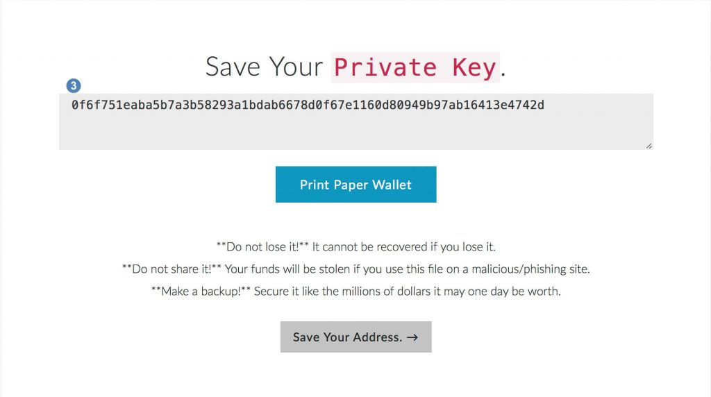 Ethereum wallet private key opslaan